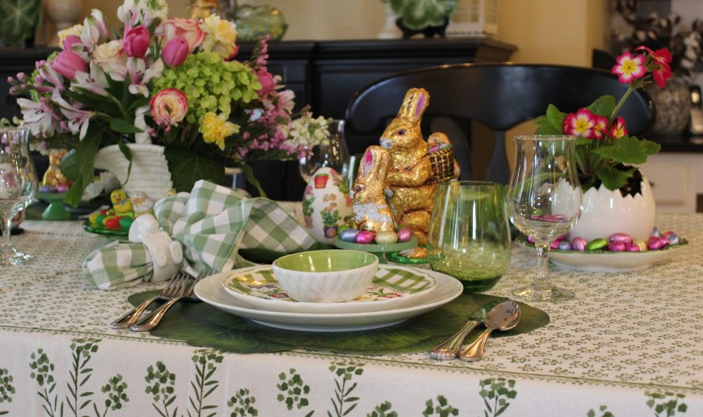 A Grown-up Easter Candy Tablescape--Colorful foil-wrapped Easter candy becomes eye candy when displayed on the table.