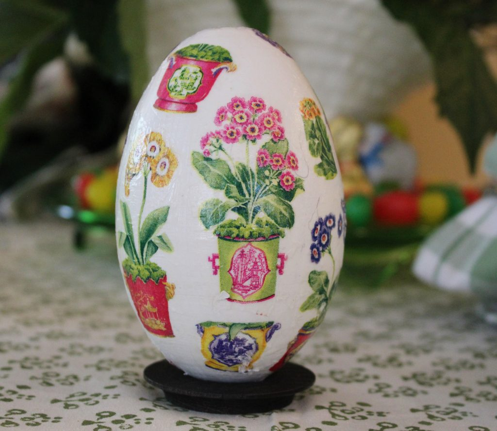 A Grown-up Easter Candy Tablescape--decoupage Easter egg