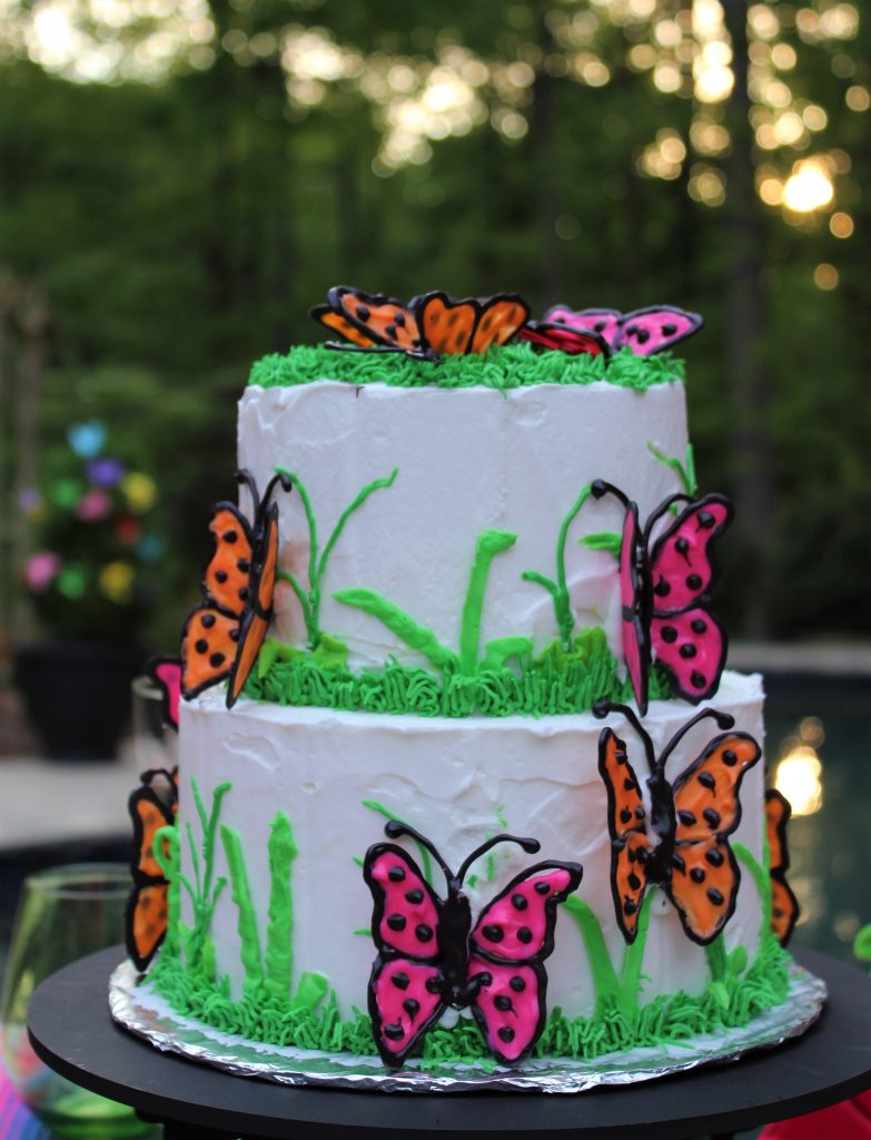 Cake decorated with chocolate butterflies for a  Butterfly Mother's Day Tablescape