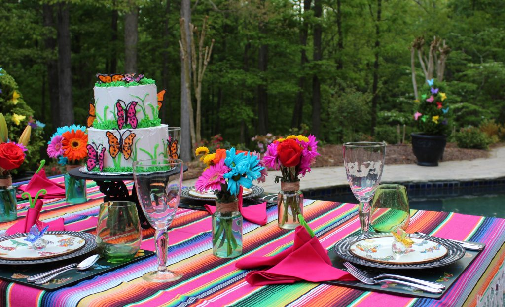 A Butterfly Mother's Day Tablescape poolside.