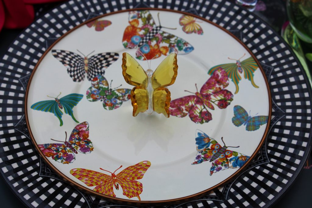 Crystal Butterflies are lovely  gifts for guests -- Butterfly Mother's Day Tablescape