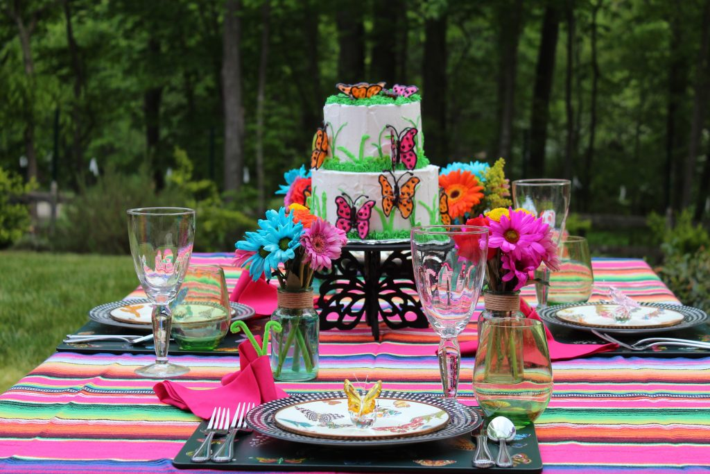 Outdoor setting for a  Butterfly Mother's Day Tablescape