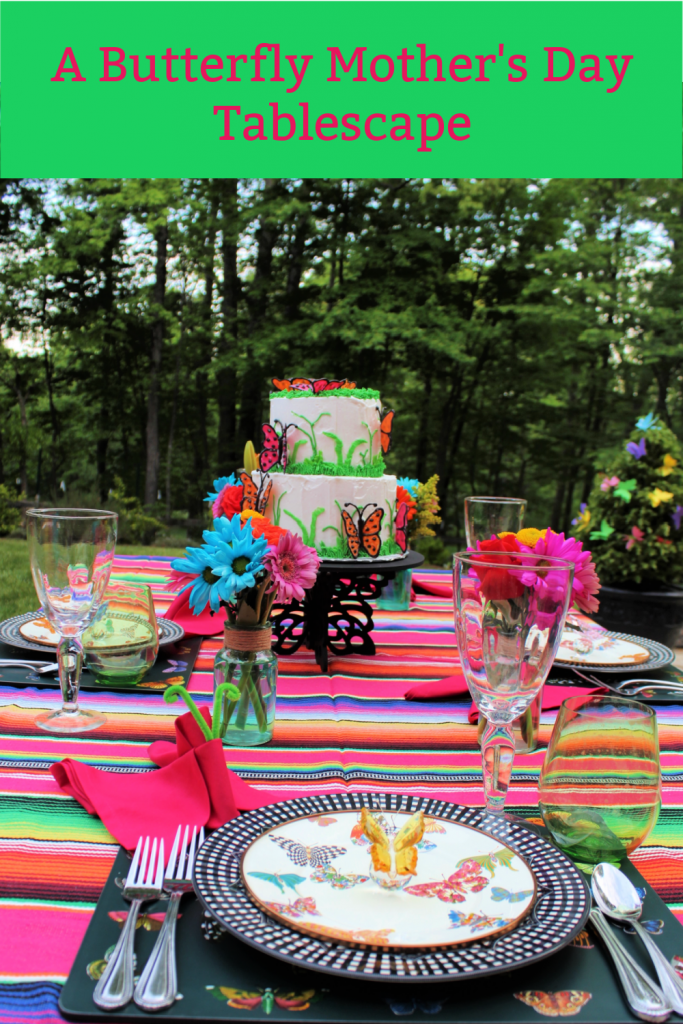 A Poolside Butterfly Mother's Day Tablescape celebrates mom and escaping our COVID cocoons.