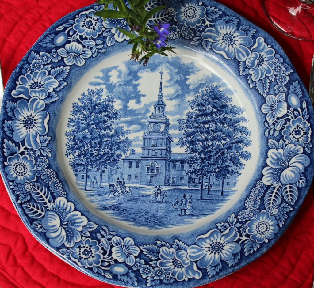 """""""Liberty Blue"""" transferware is perfect for a patriotic tablescape."""
