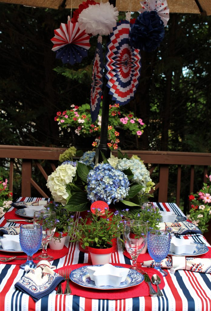 Flowers and fireworks patriotic tablescape.